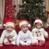 Fani Kayode's Triplet in matching outfit as they celebrate their first Christmas.
