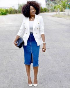 blazer and jean skirt styles