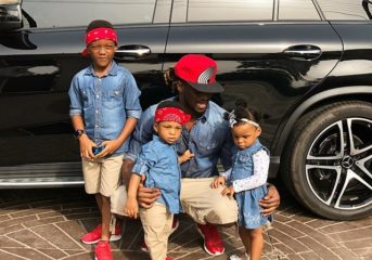 Paul Okoye and Kids in Matching Outfit