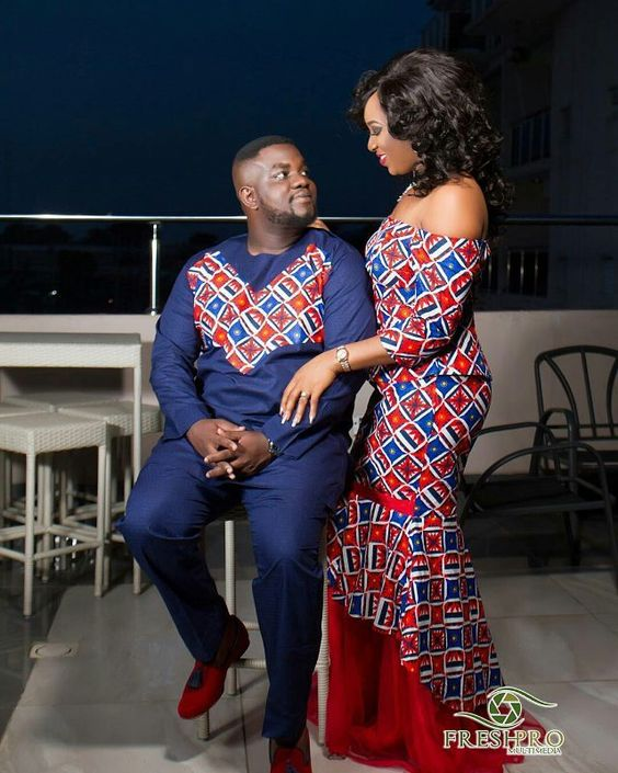 nigerian couples on native ankara wears
