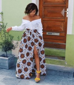 long ankara slit skirt