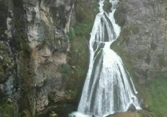 Viral Photo of Wedding Gown created by Waterfall