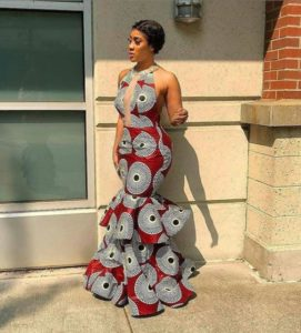 floor sweeping ankara gown