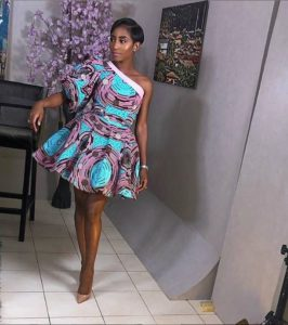 one arm ankara flare gown