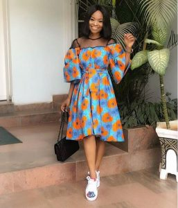 ankara gown with sneakers