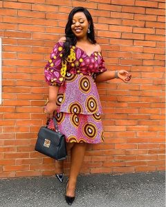 ankara off shoulder gown