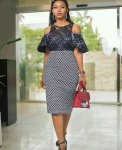 ankara cold shoulder gown styles
