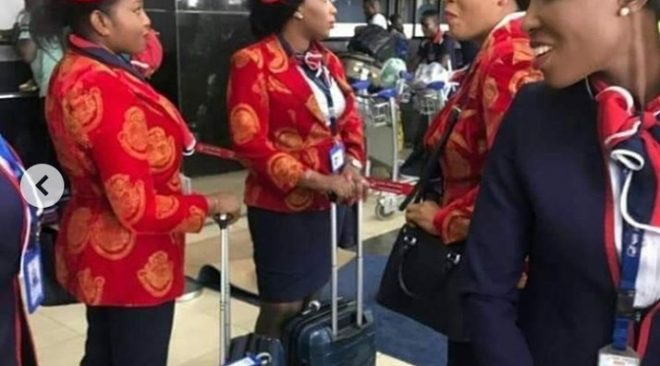 Air Peace Crew To Dubai Wear 'Isi Agu' Suit And Red Cap