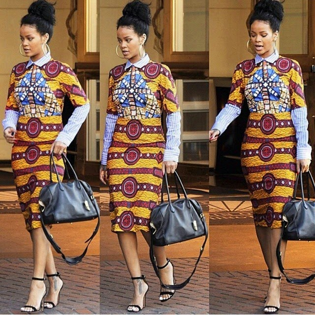 rihanna wears ankara to white house